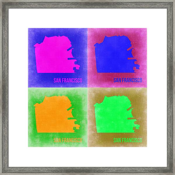 San Francisco Pop Art Map 2 Framed Print by Naxart Studio