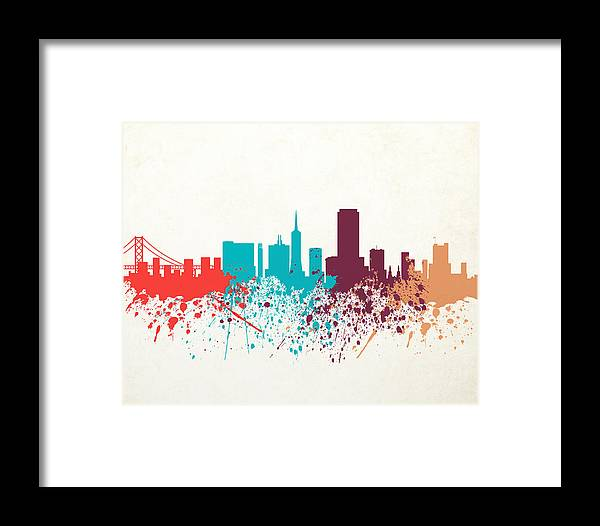 Amaerican Framed Print featuring the digital art San Francisco Skyline Paint by World Art Prints And Designs
