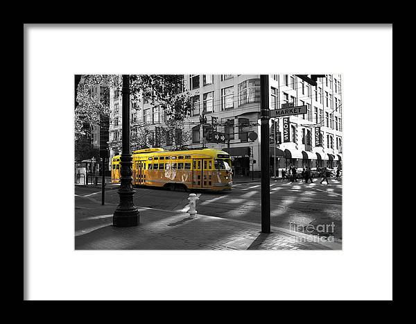 San Francisco Framed Print featuring the photograph San Francisco Vintage Streetcar On Market Street - 5d19798 - Black And White And Yellow by Wingsdomain Art and Photography