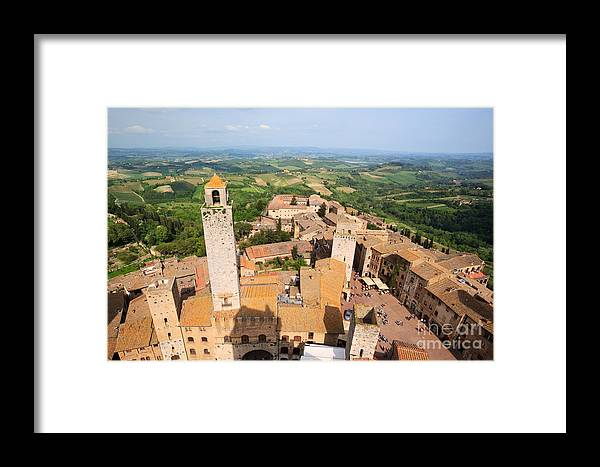 Town Framed Print featuring the photograph San Gimignano From The Top Of A Tower by Matteo Colombo