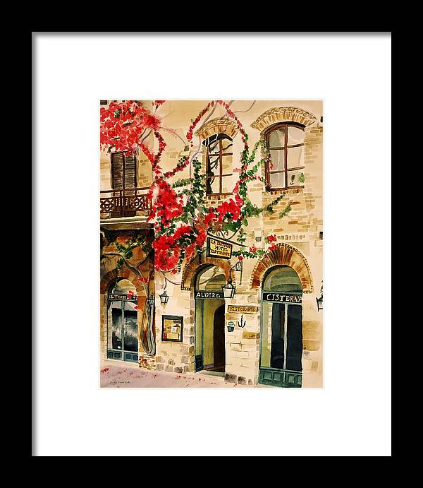 Award-winning Framed Print featuring the painting San Gimignano by Judy Swerlick