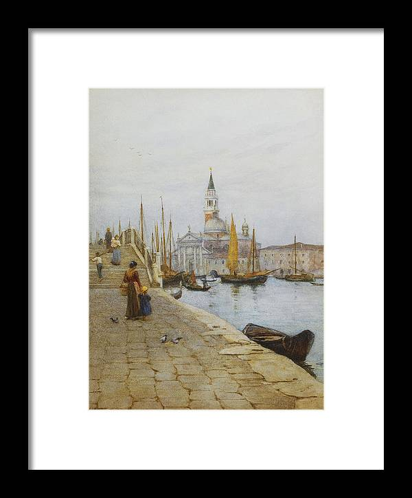 Allingham; Architectural Feature; Artist European; Artwork; Boat; British Artist; Building Exterior; Child; Day; Daughter; Drawing; Europe; Exterior; Family; Female; Fine Art; Italy; Kid; Mother; North Italian; Northern Italy; Outdoors; Parent; Pencil; People; Physical Activity; Rowboat; Sail Boat; Sailing; Saint Georges Majeur; San Giorgio Maggiore; Spire; Time Of Day; Transport; Venezia; Veneto Region; Victorian Pictures; Walk; Water Color; Water Transport; Women; Young; Zattere Framed Print featuring the painting San Giorgio Maggiore From The Zattere by Helen Allingham
