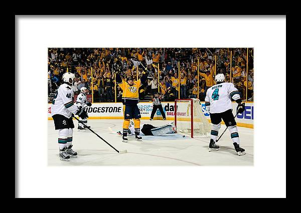 Playoffs Framed Print featuring the photograph San Jose Sharks V Nashville Predators - by Frederick Breedon