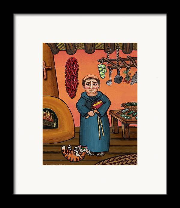 Folk Art Framed Print featuring the painting San Pascual And Vigas by Victoria De Almeida