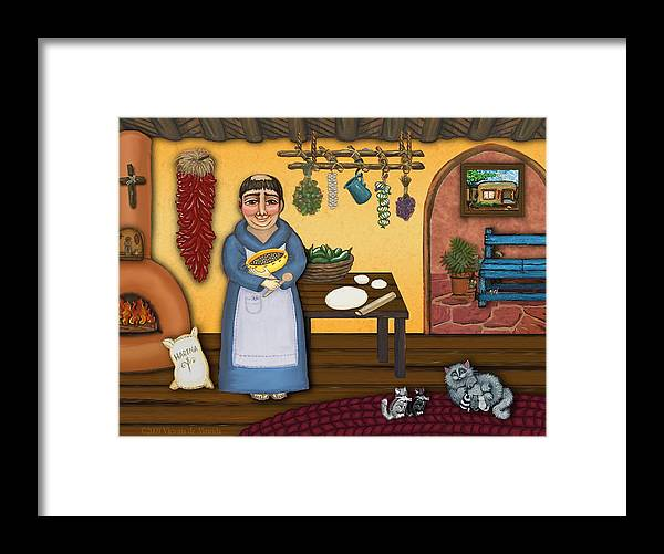 San Pascual Framed Print featuring the painting San Pascuals Kitchen 2 by Victoria De Almeida