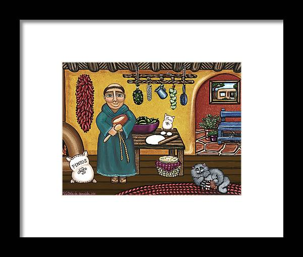 San Pascual Framed Print featuring the painting San Pascuals Kitchen by Victoria De Almeida