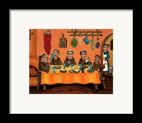 Hispanic Art Framed Print featuring the painting San Pascuals Table by Victoria De Almeida