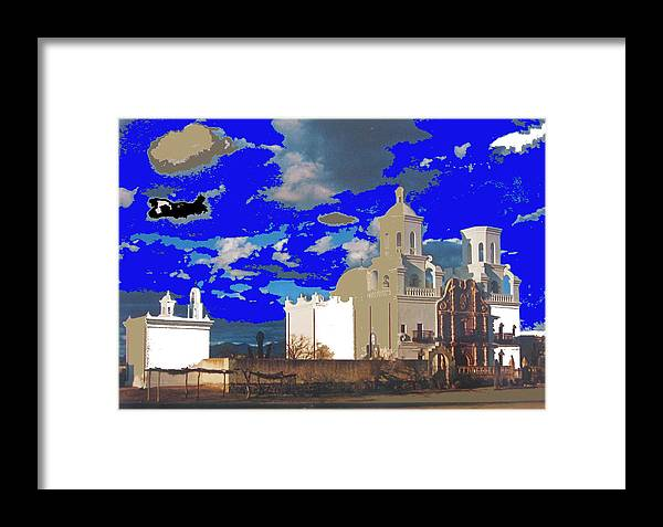 Ray Manley Postcard San Xavier Mission Tucson Arizona High Chapparal Kvoa Tv Framed Print featuring the photograph San Xavier Mission Brooding Clouds Post Card Ray Manley Photo No Date-2013 by David Lee Guss