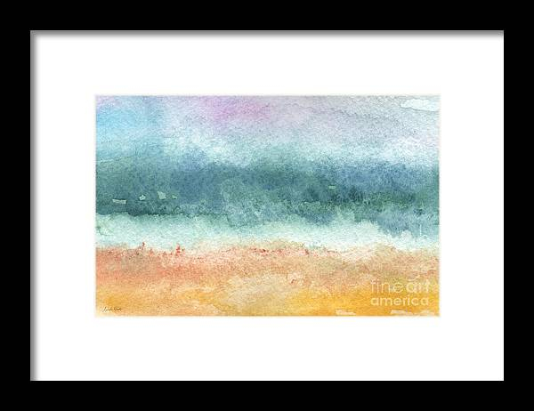 Abstract Framed Print featuring the painting Sand and Sea by Linda Woods