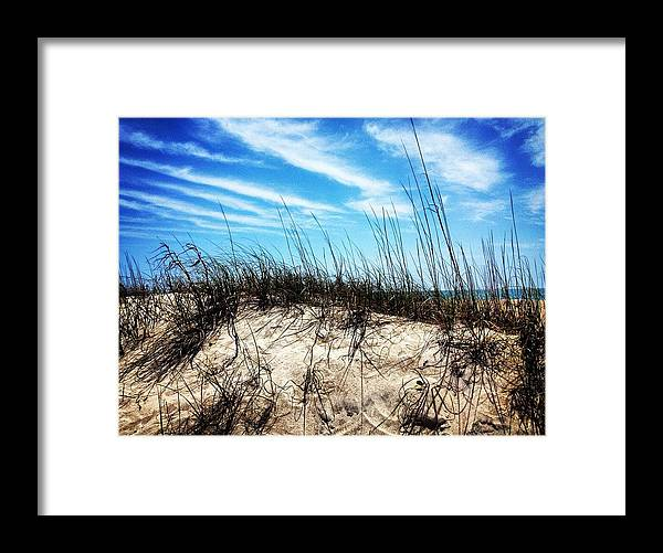 Clouds Framed Print featuring the photograph Sand Dune At Alantic Beach by Joan Meyland