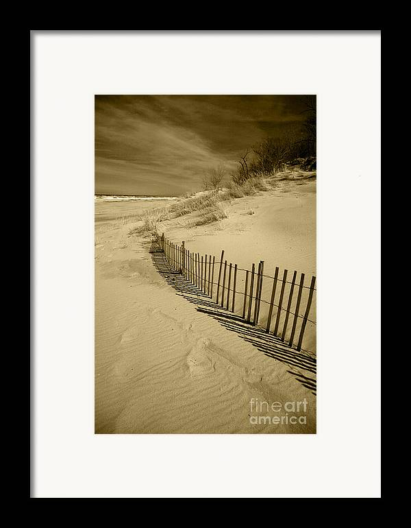 Sand Dunes Framed Print featuring the photograph Sand Dunes And Fence by Timothy Johnson