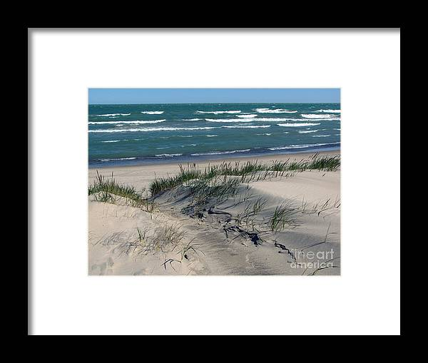 Indiana Dunes National Seashore Framed Print featuring the photograph Sand Ripples 2 by Cedric Hampton