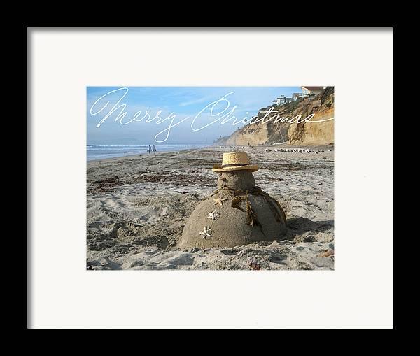 Beach Framed Print featuring the sculpture Sandman Snowman by Mary Helmreich