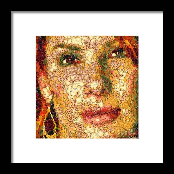 Digital Painting Framed Print featuring the digital art Sandra Bullock In The Way Of Arcimboldo by Dragica Micki Fortuna
