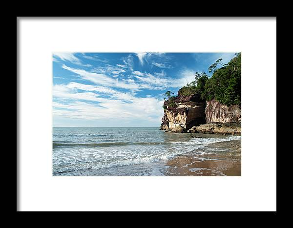 Scenics Framed Print featuring the photograph Sandstone Cliffs By Ocean At Telok by Anders Blomqvist