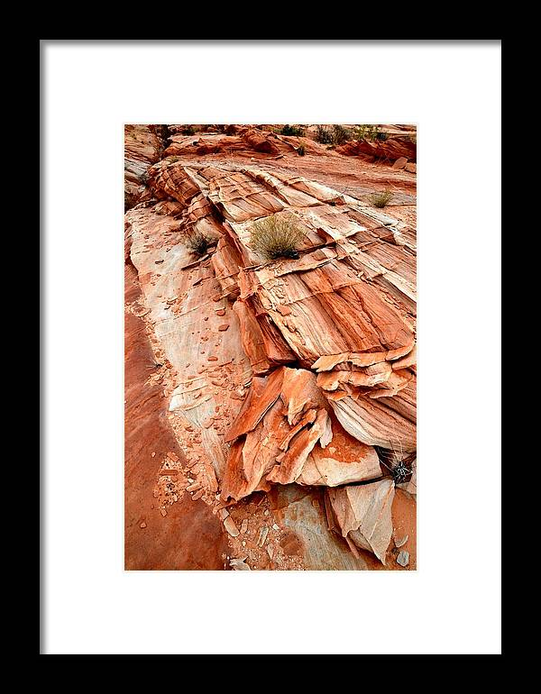 Valley Of Fire State Park Framed Print featuring the photograph Sandstone Slab by Ray Mathis