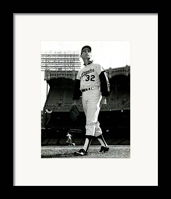 Sandy Framed Print featuring the photograph Sandy Koufax Vintage Baseball Poster by Gianfranco Weiss