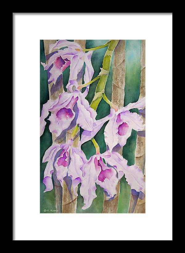 Tropical Flowers Framed Print featuring the painting Sandy's Orchids by Kathleen Rutten