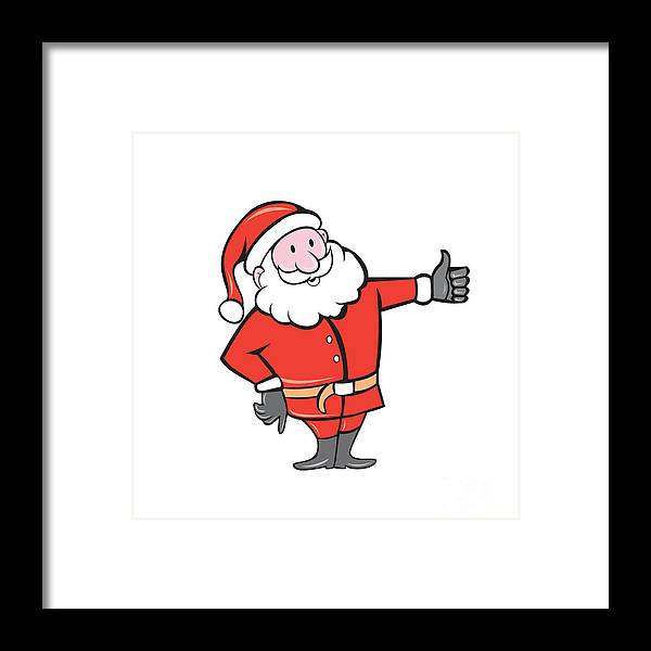 Santa Claus Father Christmas Thumbs Up Cartoon Framed Print by ...