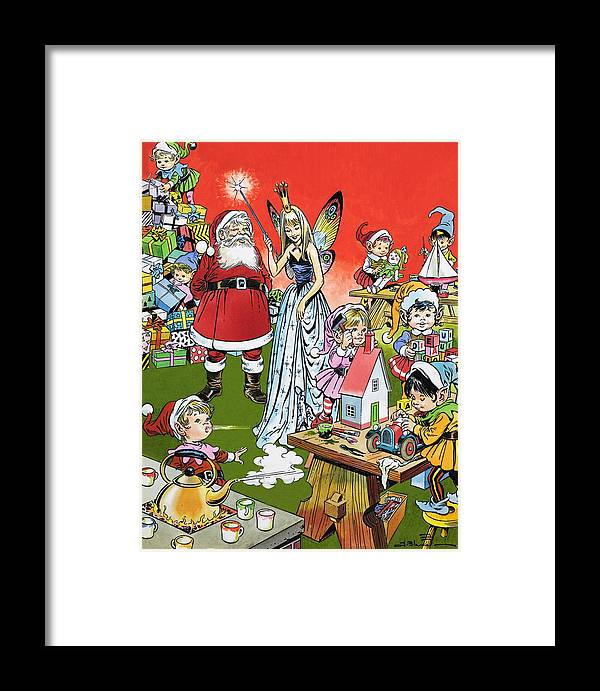 childrens illustration framed print featuring the painting santa claus toy factory by jesus blasco - Santa Claus And Jesus 2