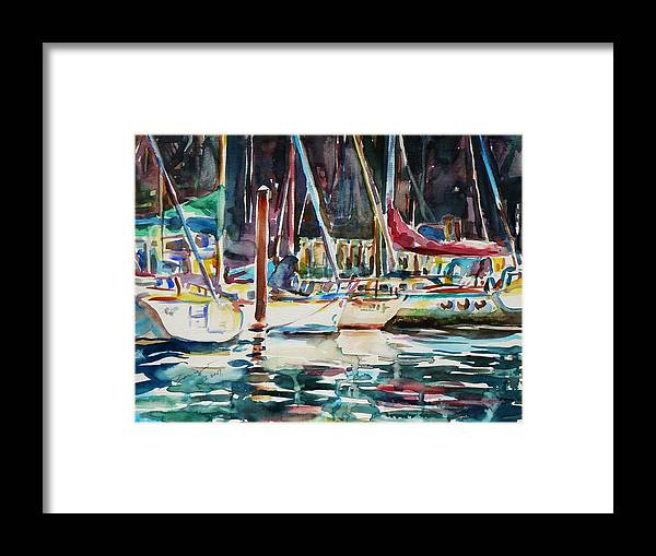 Watercolour Framed Print featuring the painting Santa Cruz Dock by Xueling Zou