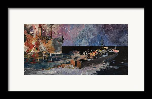 Ship Framed Print featuring the painting Santa Eliza Martyred by Ray Agius
