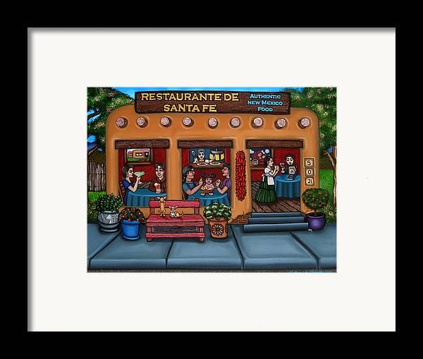 Folk Art Framed Print featuring the painting Santa Fe Restaurant by Victoria De Almeida