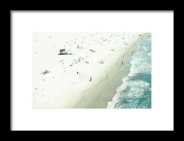 Water's Edge Framed Print featuring the photograph Santa Monica Beach by Angela Auclair