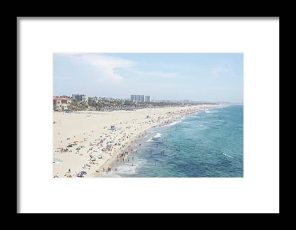 Crowd Framed Print featuring the photograph Santa Monica Beach by Tuan Tran