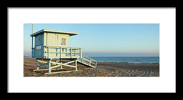 Water's Edge Framed Print featuring the photograph Santa Monica Lifeguard Station by S. Greg Panosian