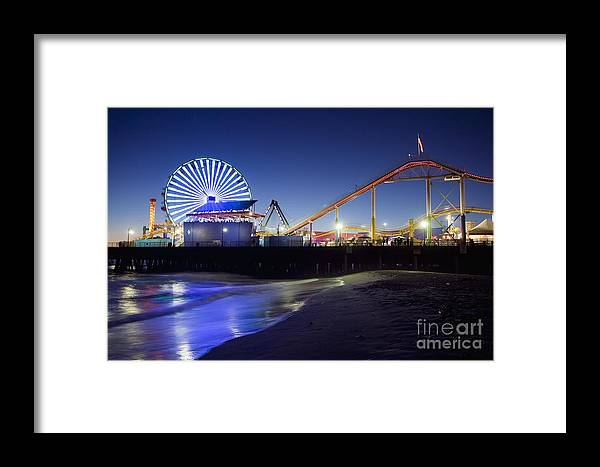 Santa Monica Pier Framed Print featuring the photograph Santa Monica Pier At Night by Bryan Mullennix
