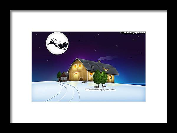 Christmas Framed Print featuring the painting Santa On His Way by Tian Chen