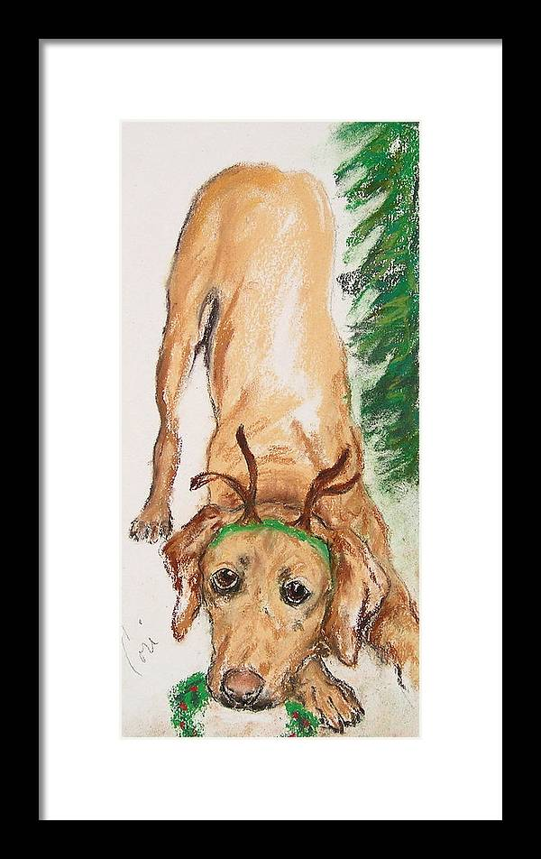 Labrador Framed Print featuring the drawing Santa's Helper by Cori Solomon