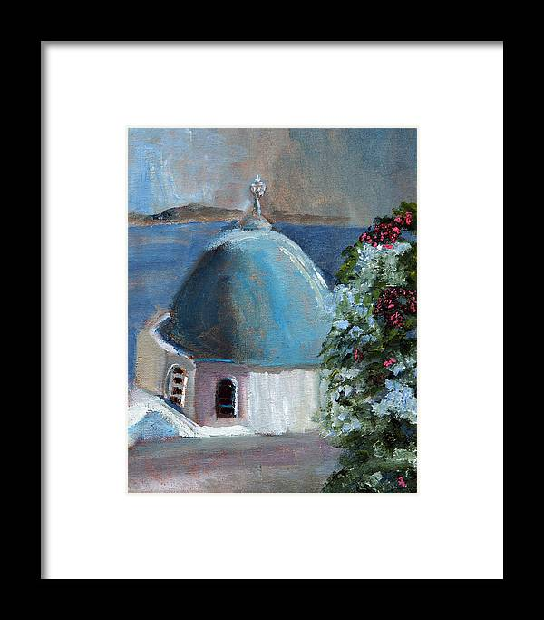 Santorini Framed Print featuring the painting Santorini Greece by Michael Helfen