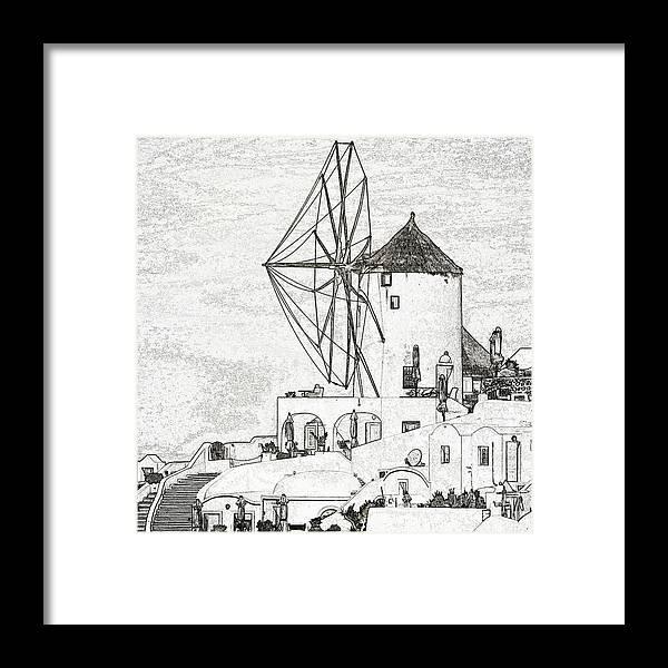 Santorini Framed Print featuring the photograph Santorini Windmill by Ewa Husejko-Swoszowska