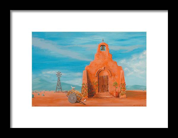 Adobe Framed Print featuring the painting Santuario by Jerry McElroy