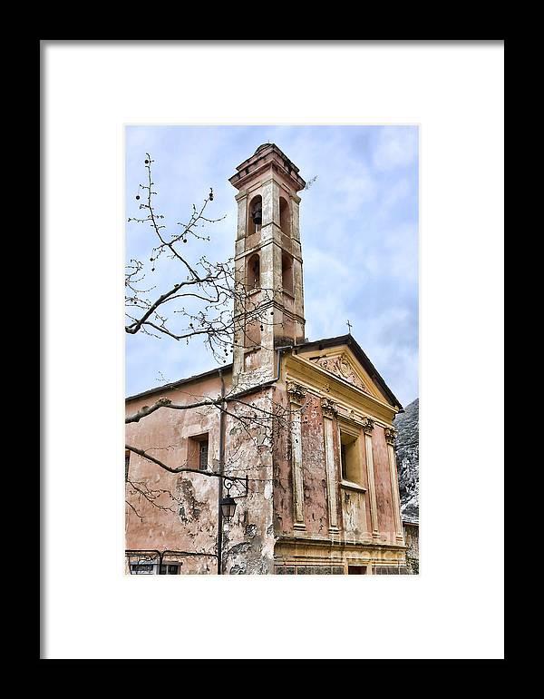 Architecture Framed Print featuring the photograph Saorge Church by Gabriela Insuratelu