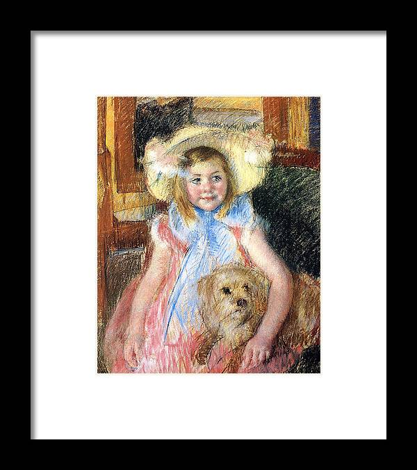 Young Girl Framed Print featuring the painting Sara And Her Dog by Mary Stevenson Cassatt