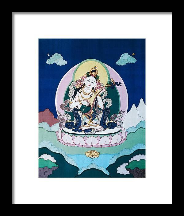 Saraswati Framed Print featuring the tapestry - textile Saraswati by Leslie Rinchen-Wongmo