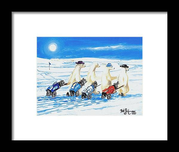 Polar Bears Framed Print featuring the painting Saturday Morning Boys by Bob Patterson