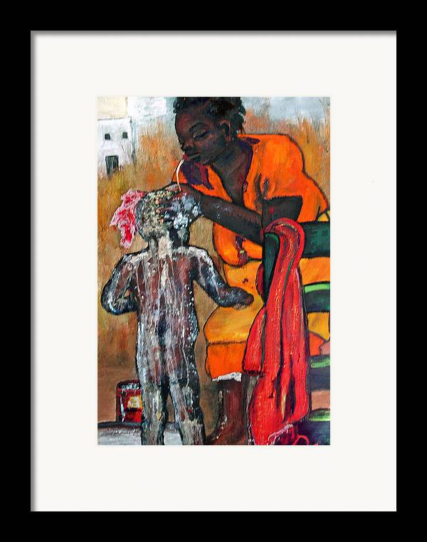 Mom Bathing Boy Framed Print featuring the painting Saturday Night Bath by Peggy Blood