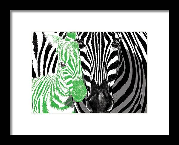 Zebra Framed Print featuring the digital art Savannah Greetings Zebra Cane Full Green Variant by Silas Amunga