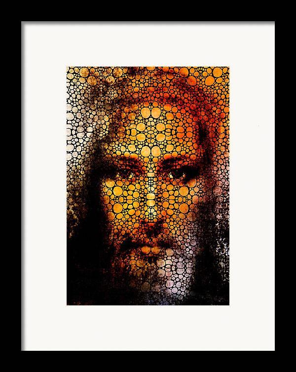 Jesus Framed Print featuring the painting Savior - Stone Rock'd Jesus Art By Sharon Cummings by Sharon Cummings
