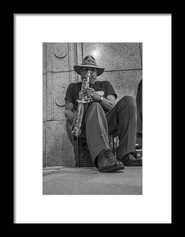 Chicago Framed Print featuring the photograph Sax Player In Chicago by John McGraw