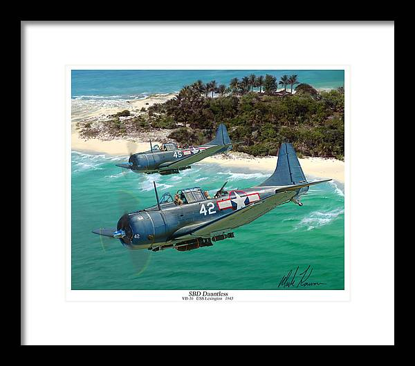 Aviation Framed Print featuring the painting Sbd Dauntless by Mark Karvon