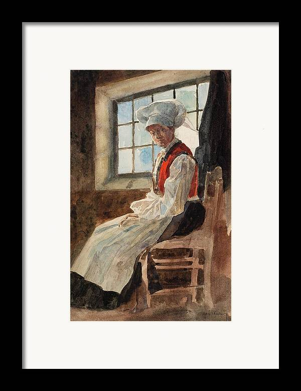 Scandinavia Framed Print featuring the painting Scandinavian Peasant Woman In An Interior by Alexandre Lunois
