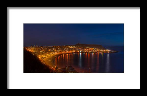 Europe Framed Print featuring the photograph Scarborough Night Lights At Sunrise by Dennis Dame