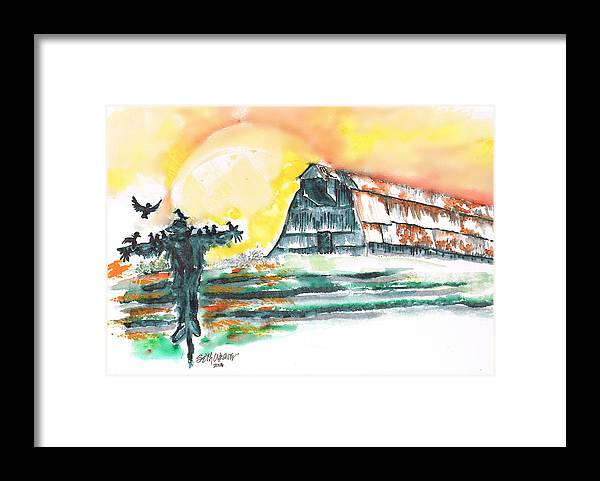 Scarecrow Welcomes The Morning Framed Print featuring the mixed media Scarecrow Welcomes the Morning by Seth Weaver