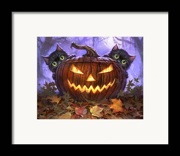 Cat Artwork. Cats Framed Print featuring the painting Scaredy Cats by Jeff Haynie