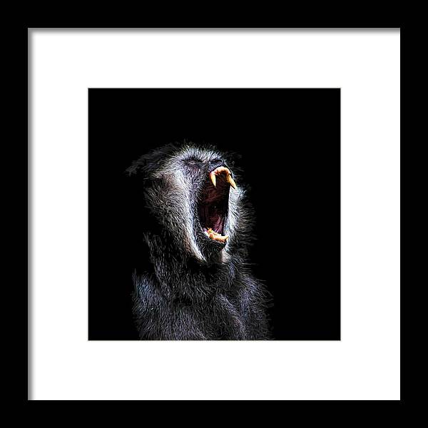 Black Monkey Framed Print Featuring The Painting Scary Vicious Fanged Teeth By Tracie Kaska